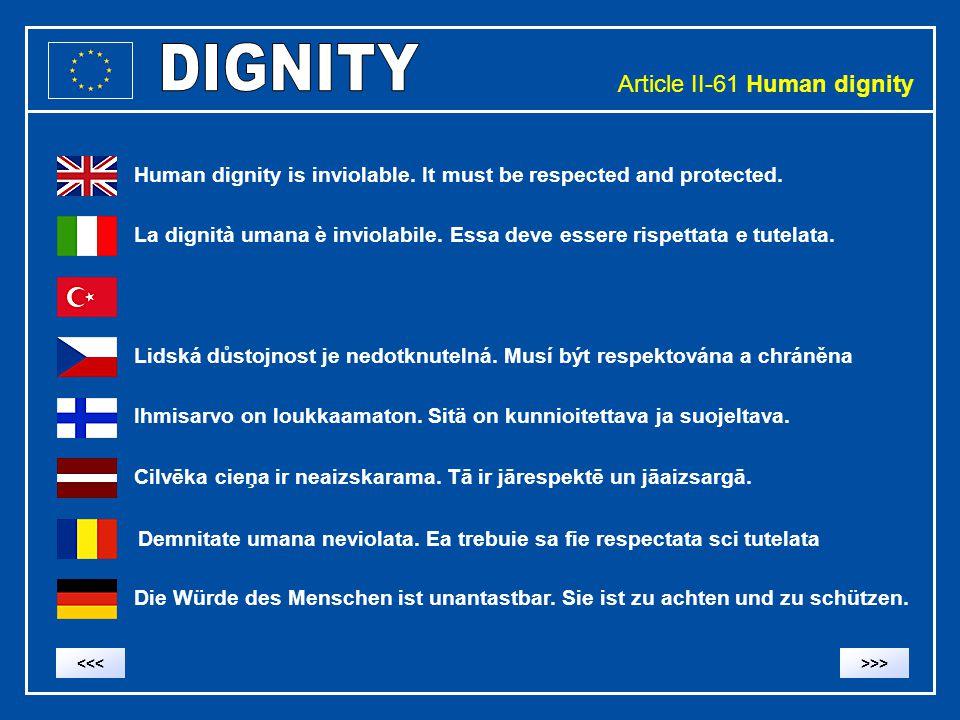 Article II-61 Human dignity Human dignity is inviolable. It must be respected and protected. La dignità umana è inviolabile. Essa deve essere rispetta
