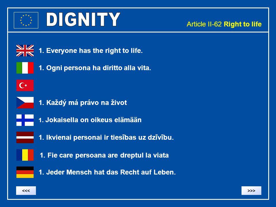 Article II-62 Right to life 1. Everyone has the right to life. 1. Ogni persona ha diritto alla vita. 1. Každý má právo na život 1. Ikvienai personai i