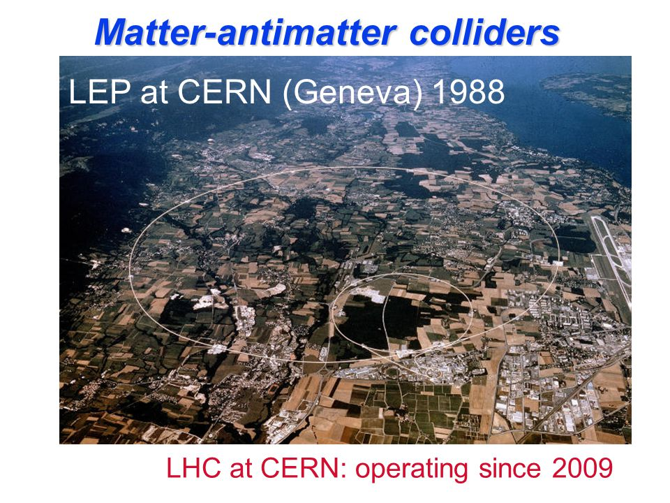 Matter-antimatter colliders ADA at Frascati in 1959 ADONE at Frascati in 1969 DA  NE LEP at CERN (Geneva) 1988 LHC at CERN: operating since 2009