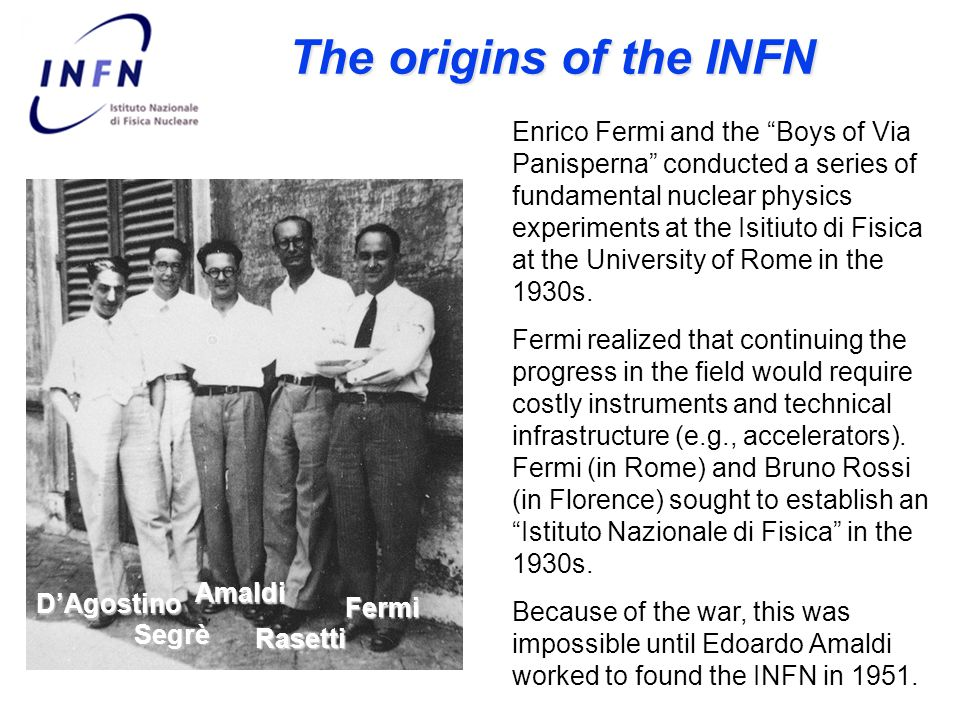 The origins of the INFN Enrico Fermi and the Boys of Via Panisperna conducted a series of fundamental nuclear physics experiments at the Isitiuto di Fisica at the University of Rome in the 1930s.