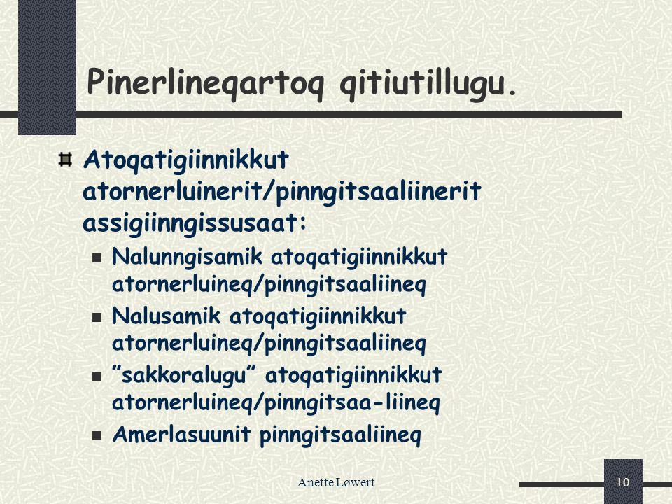 Anette Løwert10 Pinerlineqartoq qitiutillugu. Atoqatigiinnikkut atornerluinerit/pinngitsaaliinerit assigiinngissusaat: Nalunngisamik atoqatigiinnikkut
