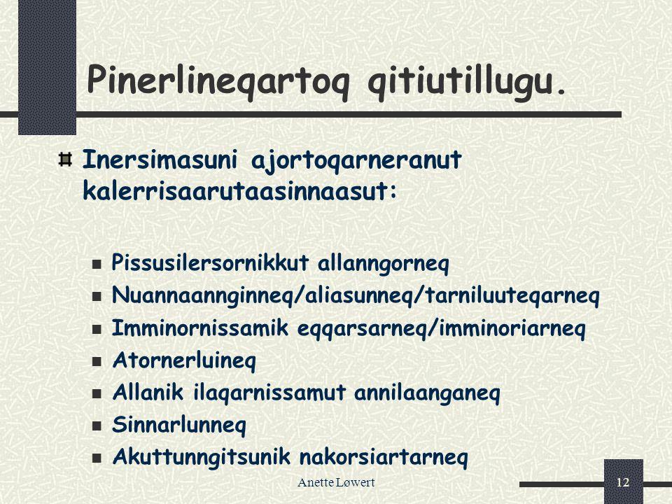 Anette Løwert12 Pinerlineqartoq qitiutillugu.