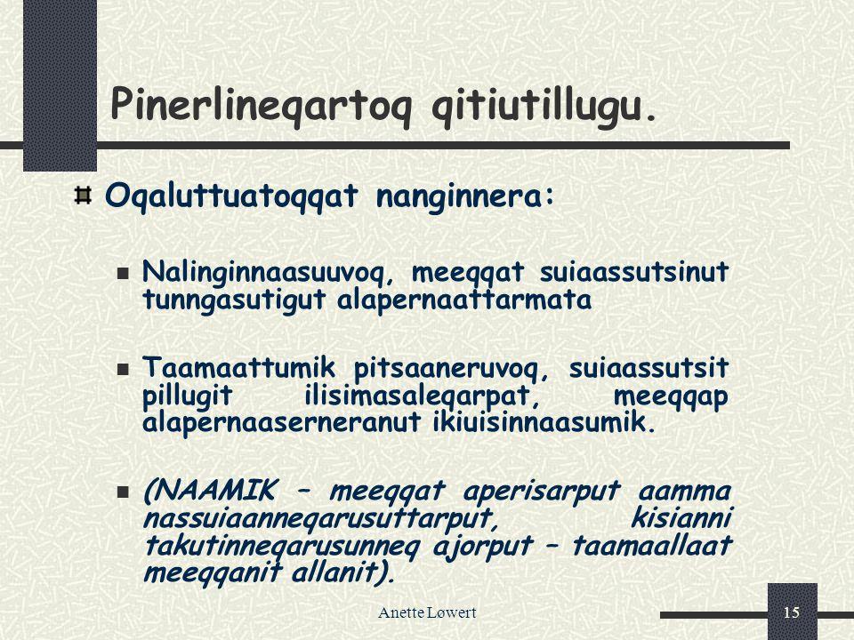 Anette Løwert15 Pinerlineqartoq qitiutillugu.