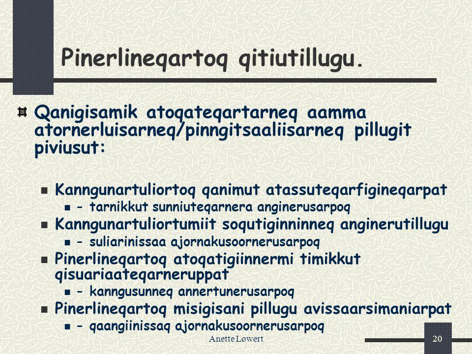 Anette Løwert20 Pinerlineqartoq qitiutillugu.