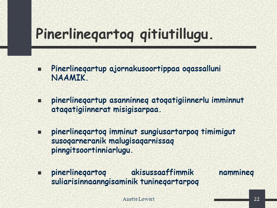 Anette Løwert22 Pinerlineqartoq qitiutillugu.