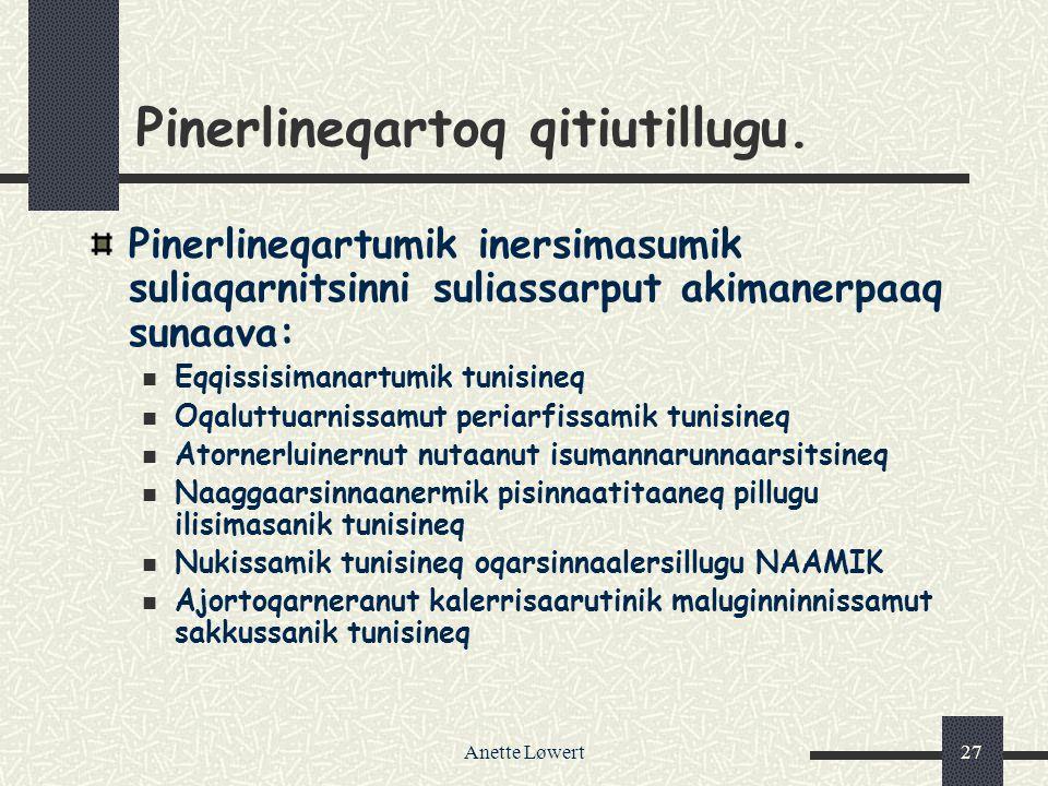 Anette Løwert27 Pinerlineqartoq qitiutillugu.