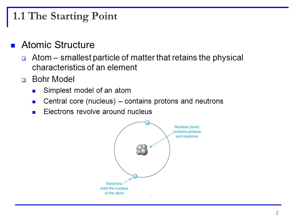 2 1.1 The Starting Point Atomic Structure  Atom – smallest particle of matter that retains the physical characteristics of an element  Bohr Model Simplest model of an atom Central core (nucleus) – contains protons and neutrons Electrons revolve around nucleus