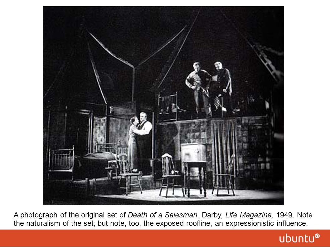 A photograph of the original set of Death of a Salesman. Darby, Life Magazine, 1949. Note the naturalism of the set; but note, too, the exposed roofli