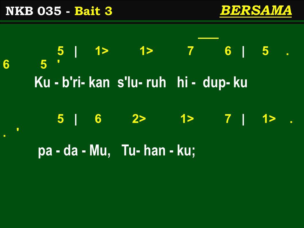 5 | 1> 1> 7 6 | 5. 6 5 Ku - b ri- kan s lu- ruh hi - dup- ku 5 | 6 2> 1> 7 | 1>..