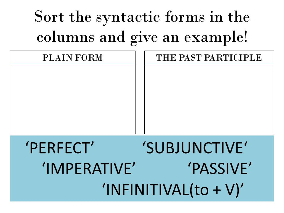 Sort the syntactic forms in the columns and give an example! PLAIN FORMTHE PAST PARTICIPLE 'PERFECT' 'SUBJUNCTIVE' 'IMPERATIVE' 'PASSIVE' 'INFINITIVAL