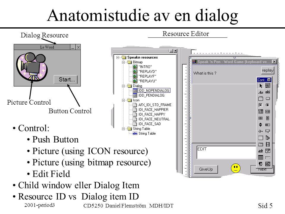 Sid 5 2001-period3 CD5250 Daniel Flemström MDH/IDT Anatomistudie av en dialog Le Word Start...
