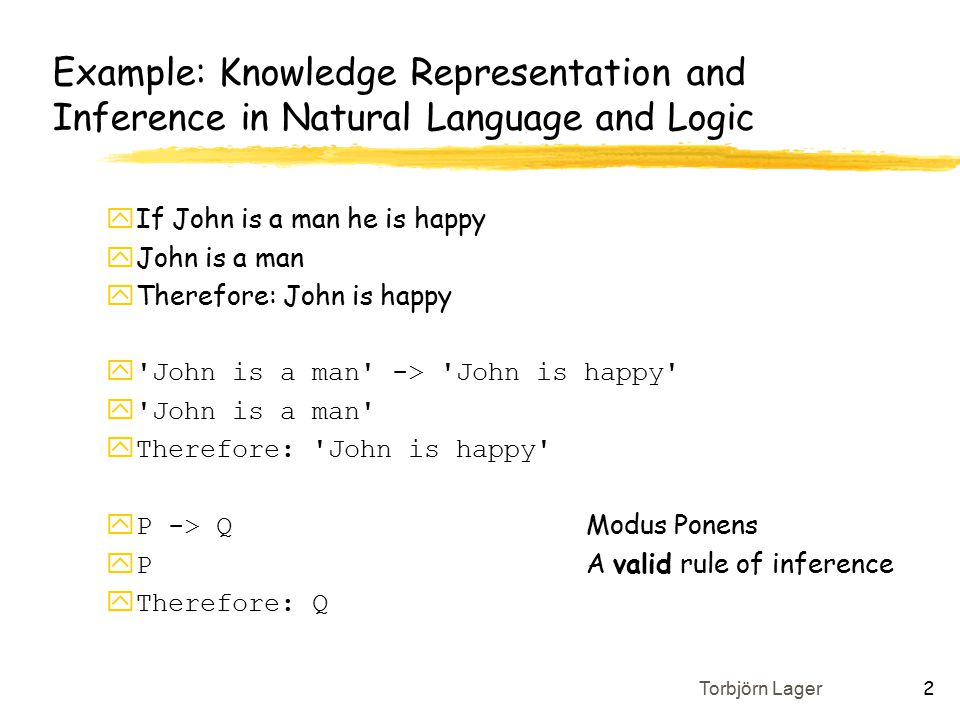 Torbjörn Lager 2 Example: Knowledge Representation and Inference in Natural Language and Logic yIf John is a man he is happy yJohn is a man yTherefore: John is happy y John is a man -> John is happy y John is a man yTherefore: John is happy  P -> Q Modus Ponens  P A valid rule of inference yTherefore: Q