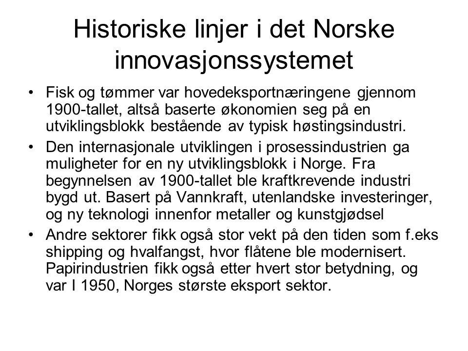 Historiske linjer i det Norske innovasjonssystemet Fisk og tømmer var hovedeksportnæringene gjennom 1900-tallet, altså baserte økonomien seg på en utviklingsblokk bestående av typisk høstingsindustri.