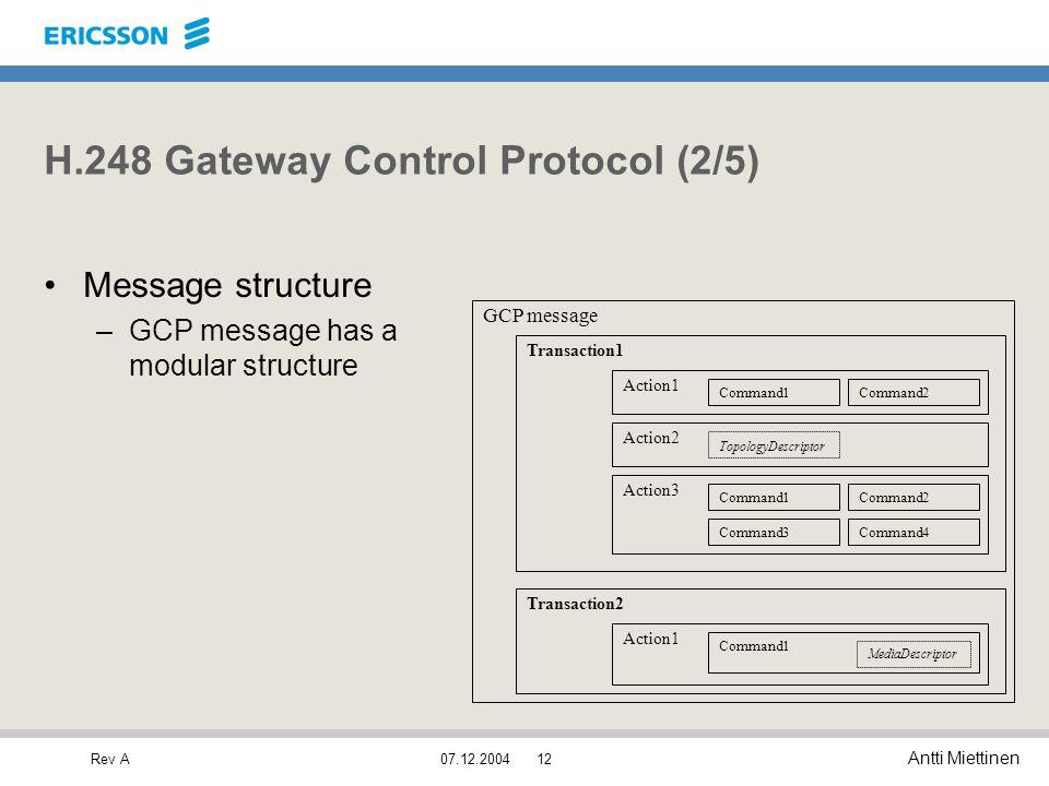 Rev A Antti Miettinen 07.12.200412 H.248 Gateway Control Protocol (2/5) Message structure –GCP message has a modular structure Transaction1 GCP messag