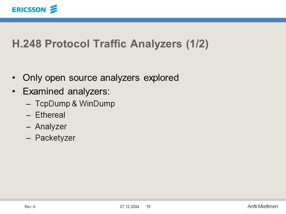 Rev A Antti Miettinen 07.12.200419 H.248 Protocol Traffic Analyzers (1/2) Only open source analyzers explored Examined analyzers: –TcpDump & WinDump –