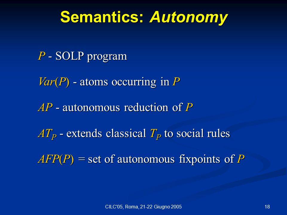 18CILC 05, Roma, 21-22 Giugno 2005 Semantics: Autonomy P - SOLP program Var(P) - atoms occurring in P AP - autonomous reduction of P AT P - extends classical T P to social rules AFP(P) = set of autonomous fixpoints of P