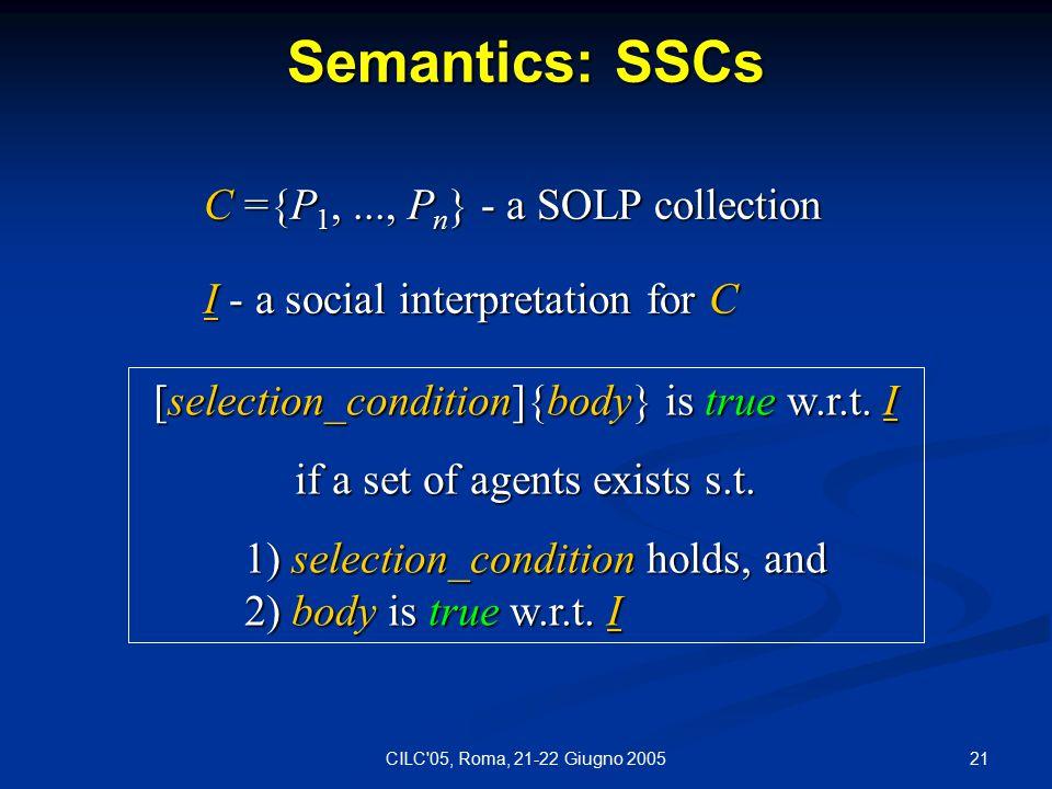 21CILC 05, Roma, 21-22 Giugno 2005 Semantics: SSCs [selection_condition]{body} is true w.r.t.
