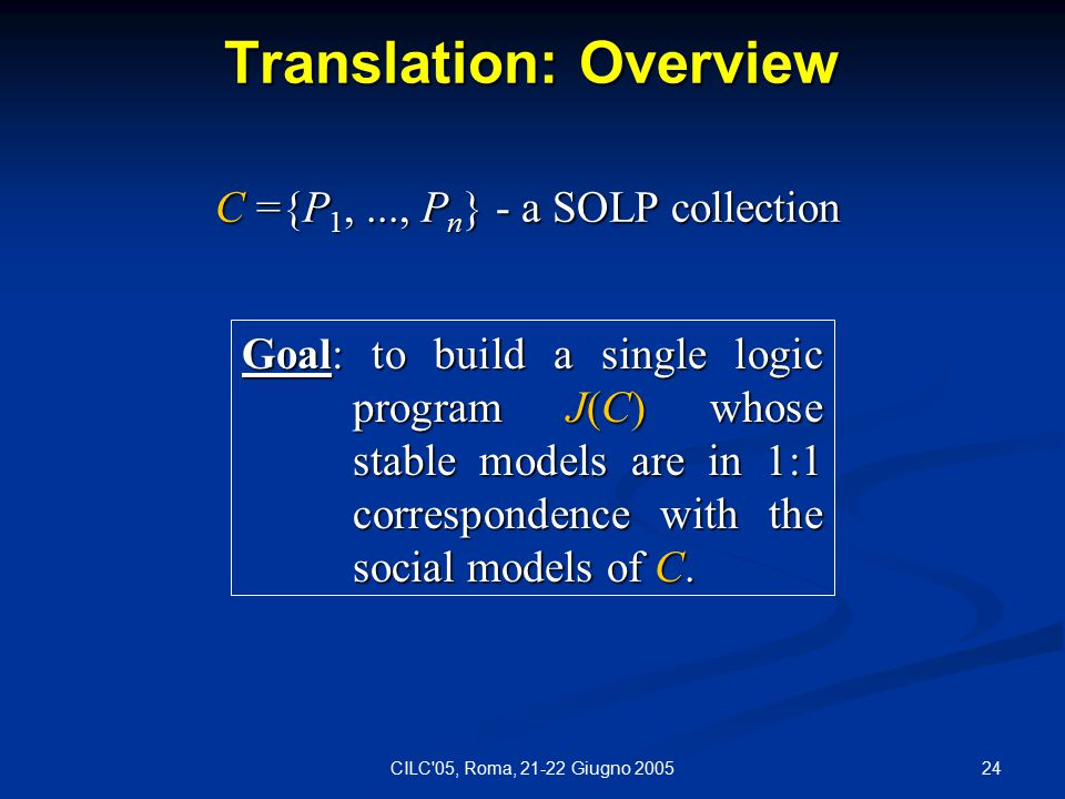 24CILC 05, Roma, 21-22 Giugno 2005 Translation: Overview Goal: to build a single logic program J(C) whose stable models are in 1:1 correspondence with the social models of C.