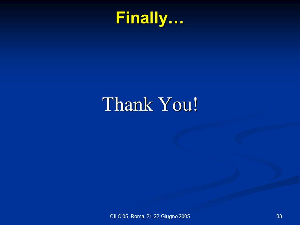 33CILC 05, Roma, 21-22 Giugno 2005 Finally… Thank You!