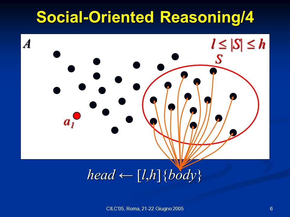 6CILC 05, Roma, 21-22 Giugno 2005 Social-Oriented Reasoning/4 head ← [l,h]{body} a1a1a1a1 S l  |S|  h A
