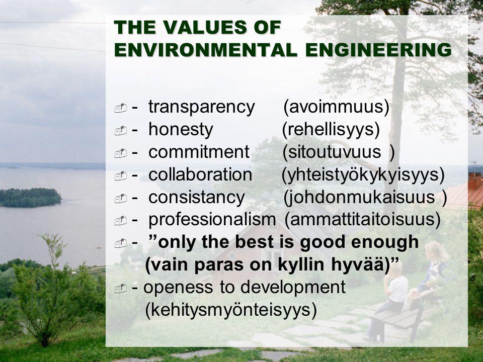 THE VALUES OF ENVIRONMENTAL ENGINEERING  - transparency (avoimmuus)  - honesty (rehellisyys)  - commitment (sitoutuvuus )  - collaboration (yhteis