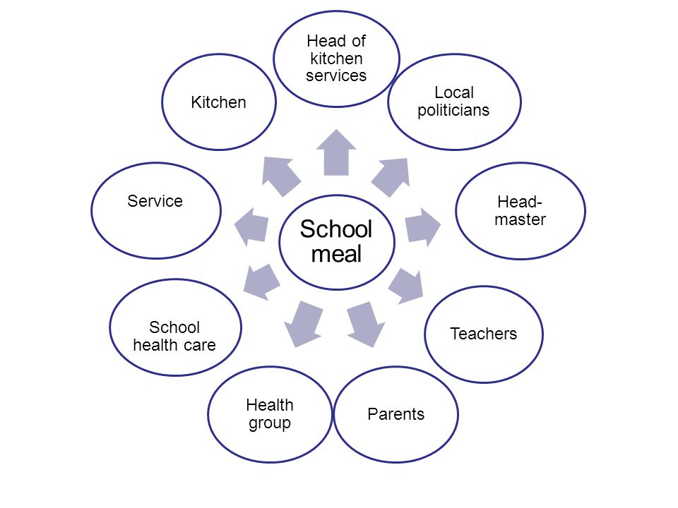 School meal Head of kitchen services Local politicians Head- master TeachersParents Health group School health care Service Kitchen