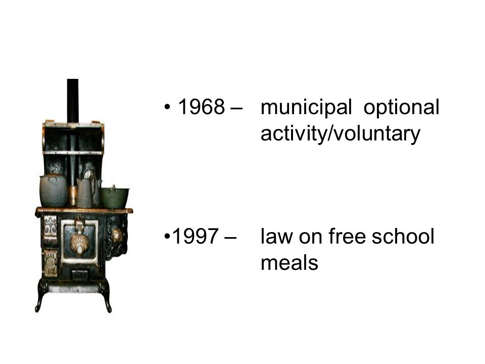 1968 – municipal optional activity/voluntary 1997 – law on free school meals