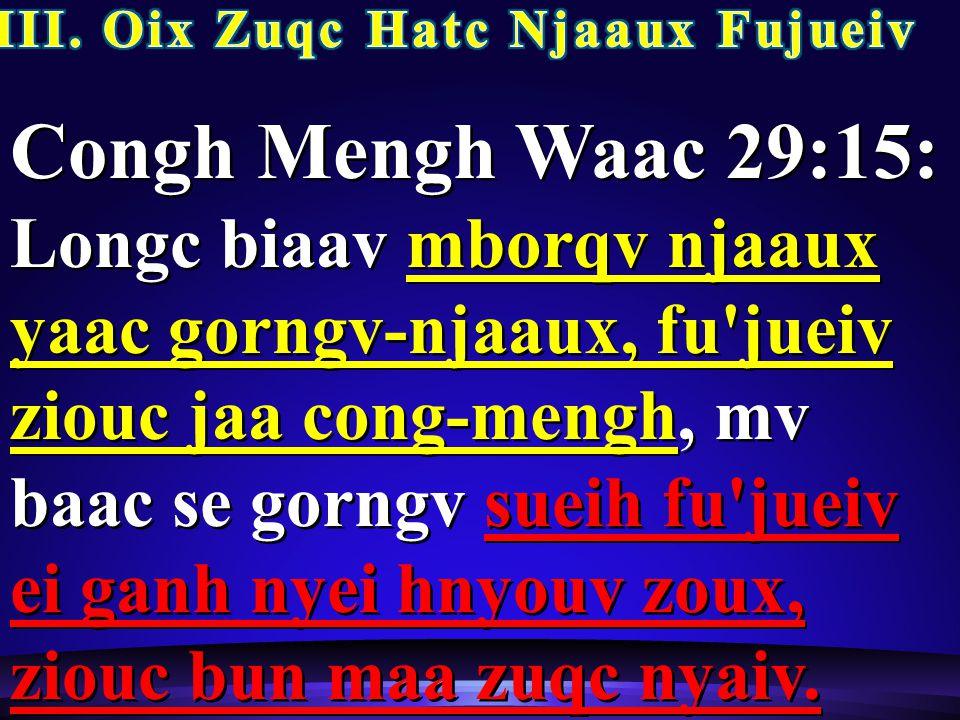 Congh Mengh Waac 29:15: Longc biaav mborqv njaaux yaac gorngv-njaaux, fu jueiv ziouc jaa cong-mengh, mv baac se gorngv sueih fu jueiv ei ganh nyei hnyouv zoux, ziouc bun maa zuqc nyaiv.