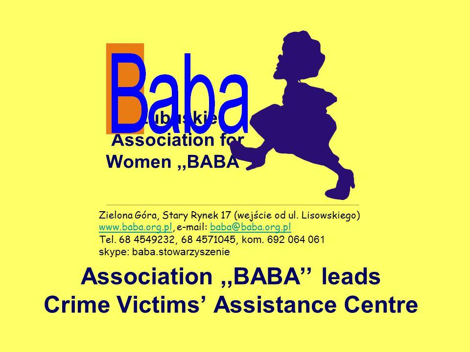 Lubuskie Association for Women,,BABA'' Association,,BABA'' leads Crime Victims' Assistance Centre Zielona Góra, Stary Rynek 17 (wejście od ul.