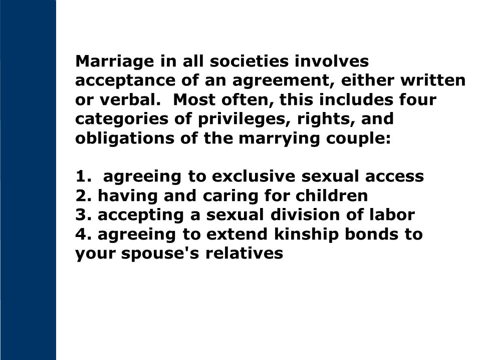 Marriage in all societies involves acceptance of an agreement, either written or verbal. Most often, this includes four categories of privileges, righ