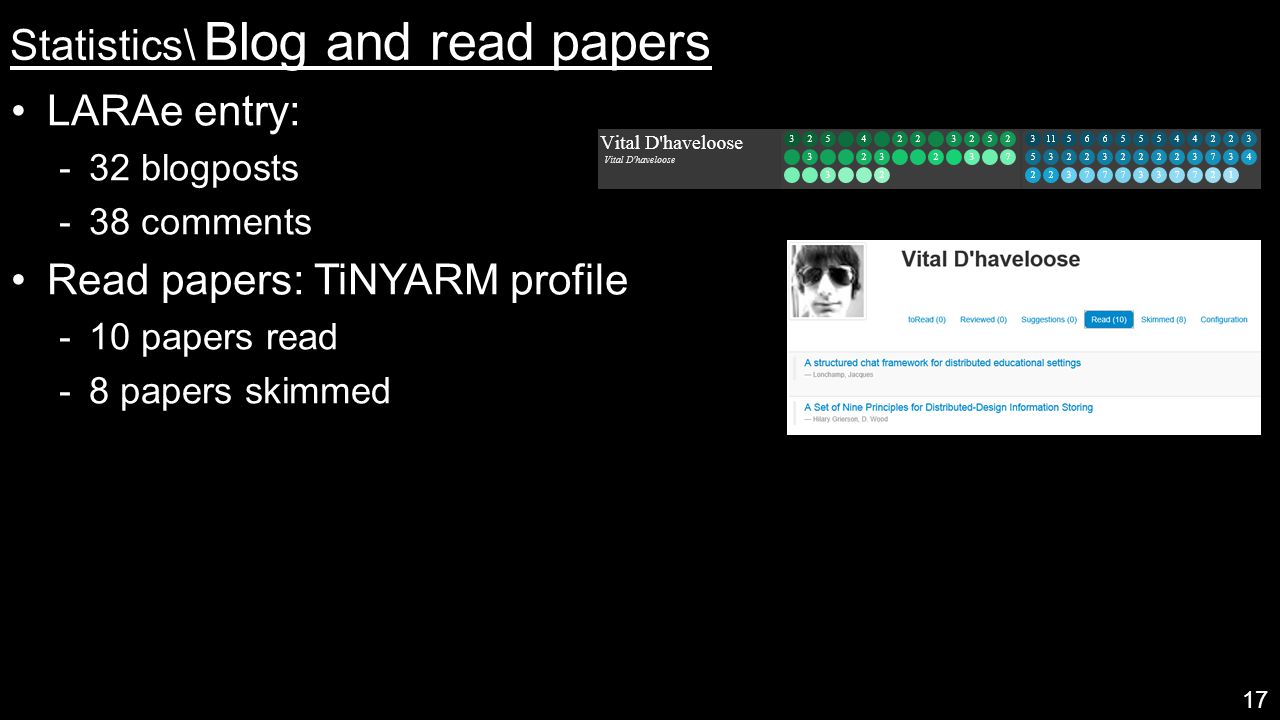 Statistics\ Blog and read papers LARAe entry:  32 blogposts  38 comments Read papers: TiNYARM profile  10 papers read  8 papers skimmed 17