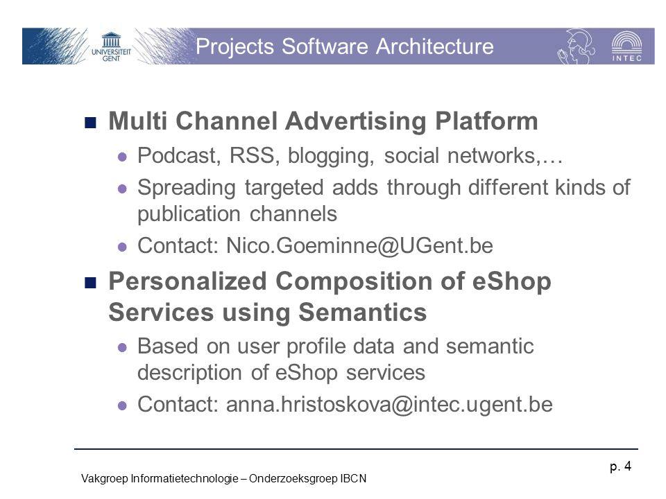 Vakgroep Informatietechnologie – Onderzoeksgroep IBCN p. 4 Projects Software Architecture Multi Channel Advertising Platform Podcast, RSS, blogging, s