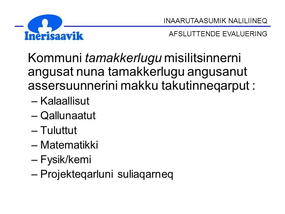 Kommuni tamakkerlugu misilitsinnerni angusat nuna tamakkerlugu angusanut assersuunnerini makku takutinneqarput : –Kalaallisut –Qallunaatut –Tuluttut –
