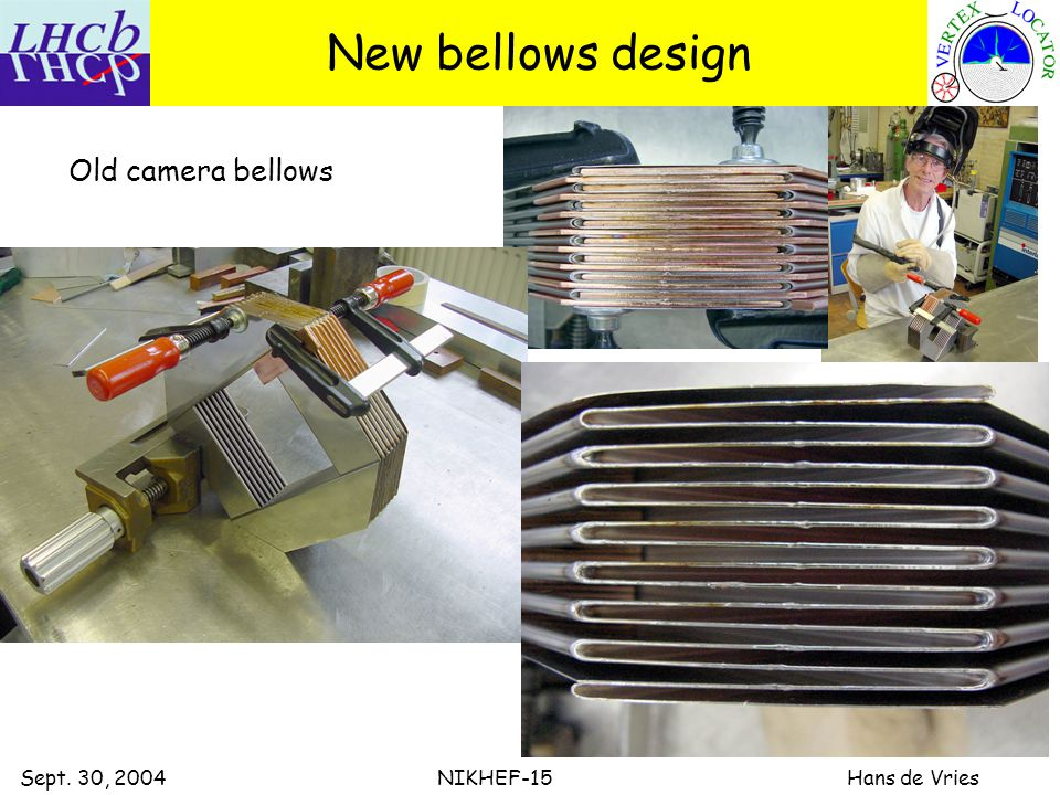 Sept. 30, 2004 NIKHEF-15 Hans de Vries New bellows design Old camera bellows