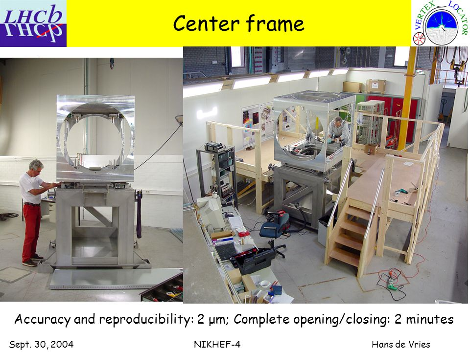 Sept. 30, 2004 NIKHEF-4 Hans de Vries Center frame Accuracy and reproducibility: 2 μm; Complete opening/closing: 2 minutes