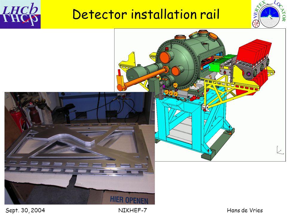 Sept. 30, 2004 NIKHEF-7 Hans de Vries Detector installation rail