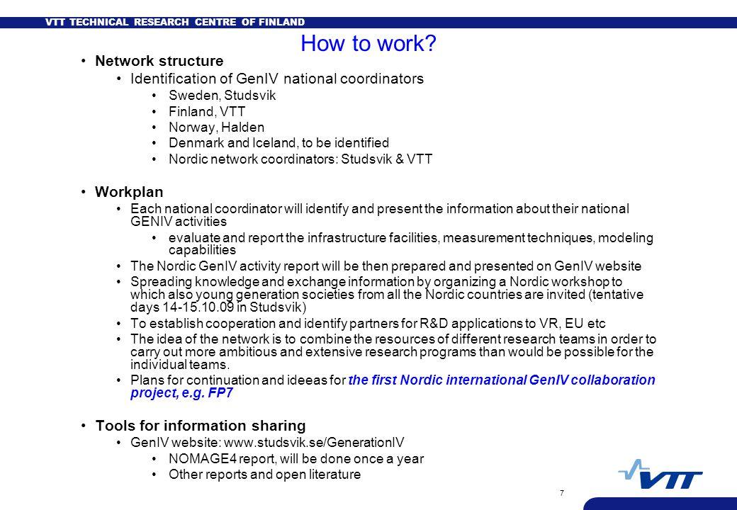 VTT TECHNICAL RESEARCH CENTRE OF FINLAND 7 How to work? Network structure Identification of GenIV national coordinators Sweden, Studsvik Finland, VTT