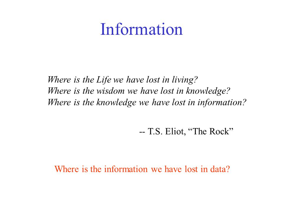 Information Where is the Life we have lost in living.