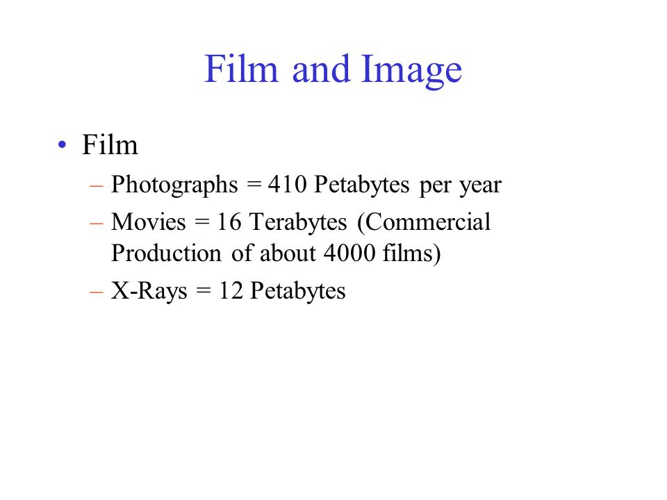 Film and Image Film –Photographs = 410 Petabytes per year –Movies = 16 Terabytes (Commercial Production of about 4000 films) –X-Rays = 12 Petabytes
