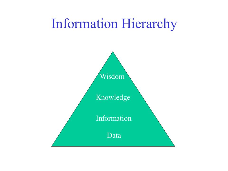 Information Hierarchy Data –The raw material of information Information –Data organized and presented by someone Knowledge –Information read, heard or seen and understood Wisdom –Distilled and integrated knowledge and understanding