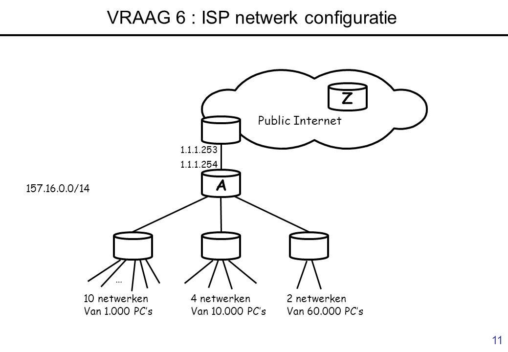 10 VRAAG 4 : antwoord ABE DC Internet Subnetmask: FF.FF.FF.00 157.193.1.0 157.193.2.0 157.193.3.0 157.193.4.0 157.193.5.0 157.193.254.0 F.254.253 Dest