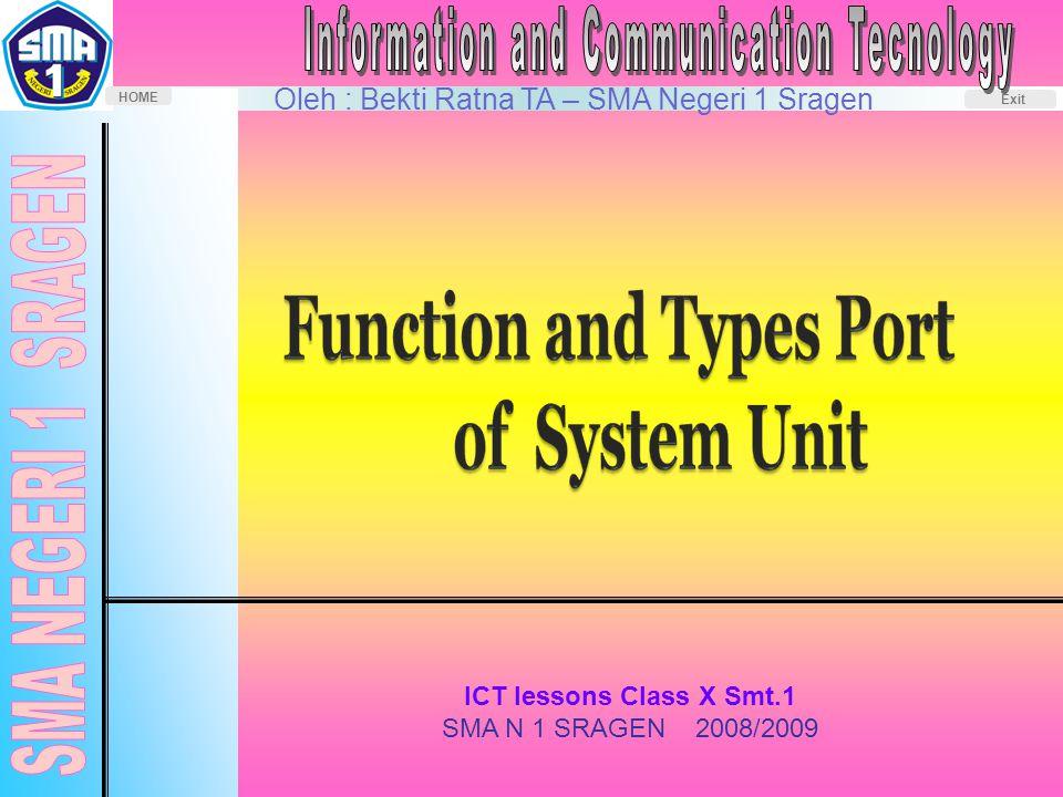 Oleh : Bekti Ratna TA – SMA Negeri 1 Sragen HOME Exit ICT lessons Class X Smt.1 SMA N 1 SRAGEN 2008/2009