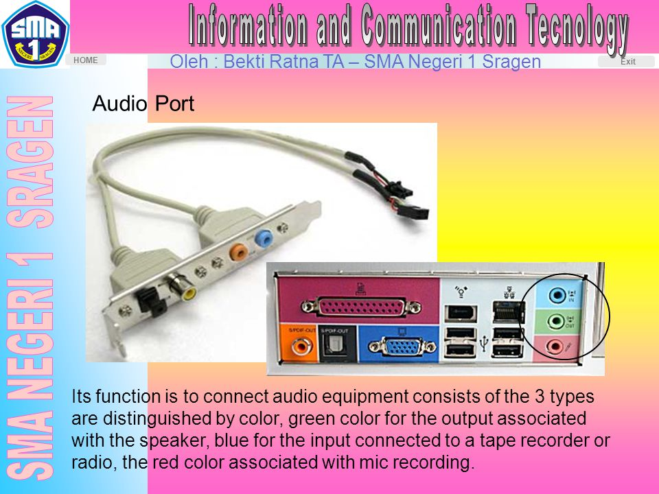 Oleh : Bekti Ratna TA – SMA Negeri 1 Sragen HOME Exit Audio Port Its function is to connect audio equipment consists of the 3 types are distinguished by color, green color for the output associated with the speaker, blue for the input connected to a tape recorder or radio, the red color associated with mic recording.