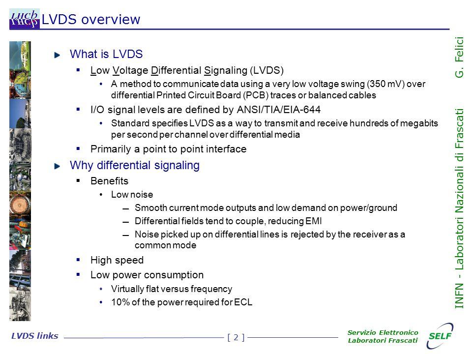 [ 3 ] LVDS links Servizio Elettronico Laboratori Frascati INFN - Laboratori Nazionali di Frascati G.