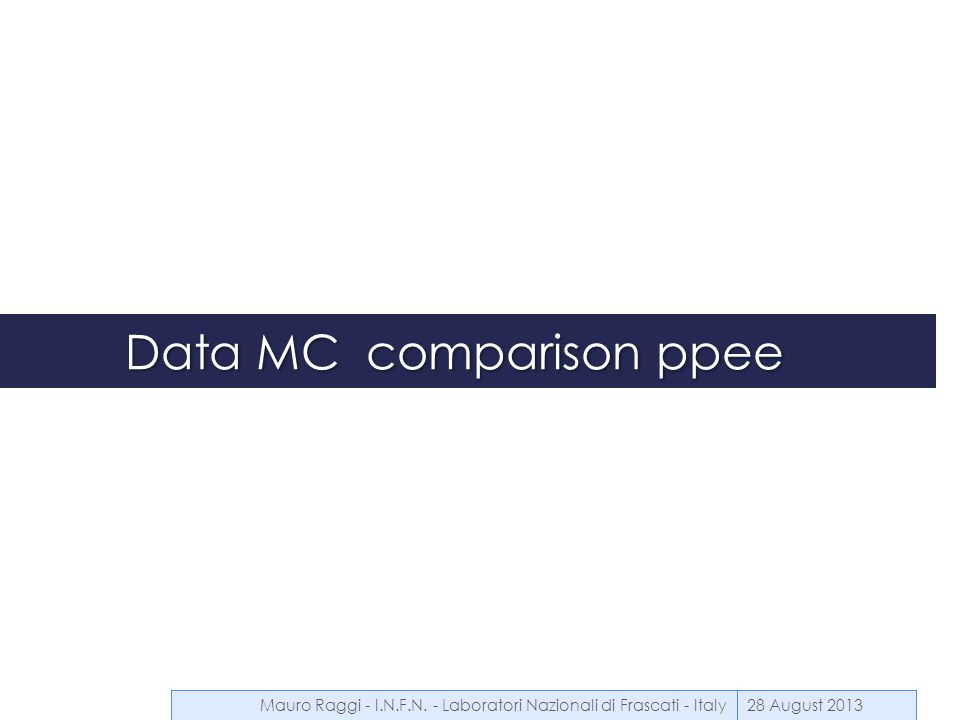 Data MC comparison ppee 28 August 2013Mauro Raggi - I.N.F.N. - Laboratori Nazionali di Frascati - Italy