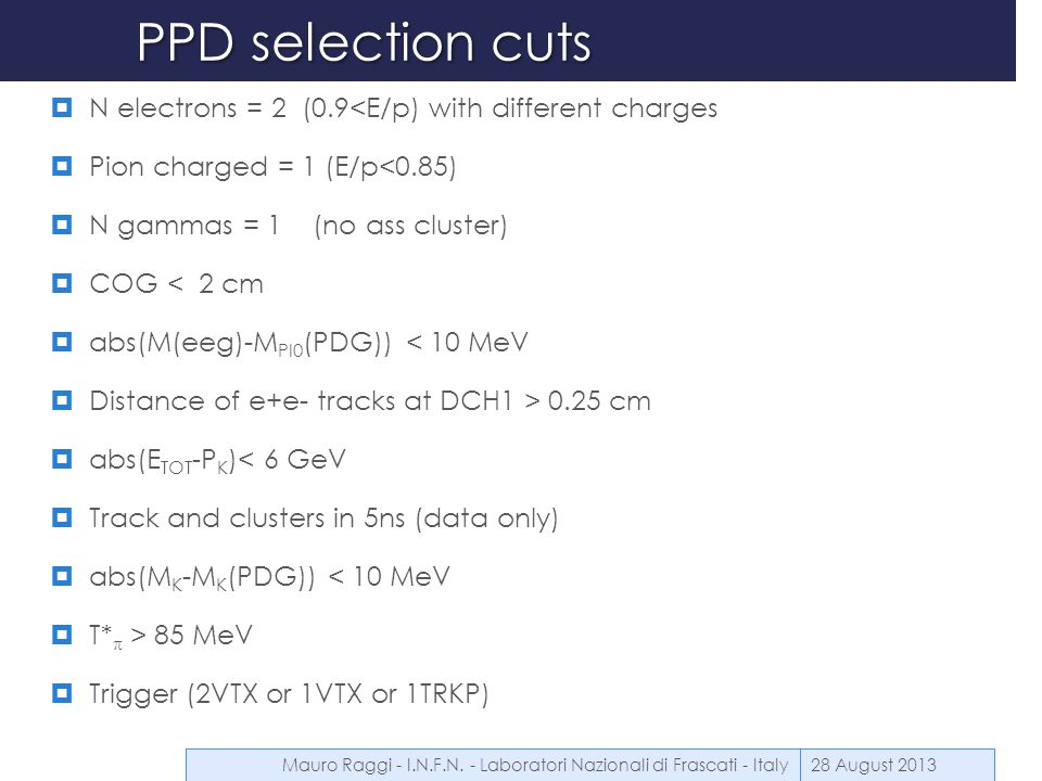 PPD selection cuts  N electrons = 2 (0.9<E/p) with different charges  Pion charged = 1 (E/p<0.85)  N gammas = 1 (no ass cluster)  COG < 2 cm  abs
