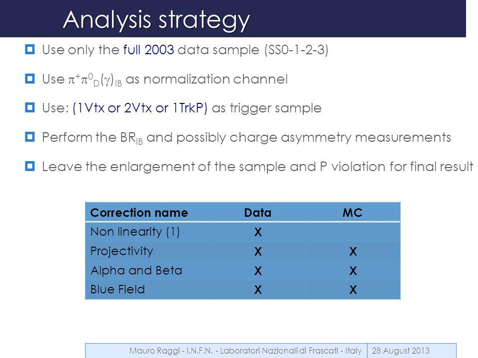 Analysis definitions cuts (presel)  Good Vertex  -1000 < Z VTX < 8000  NVTXtrk = 3  Good Track  TrackQual >0.75 new  2 GeV <TrackP< 60 GeV  12 cm <RDCH1<135 cm  12 cm <RDCH4<135 cm  Ddead > 2 cm  Track to track dist > 2cm  Good Clusters  2Gev < Ecl <60 GeV  accep(LKR) routine for geometrical acceptance  Cluster to cluster > 10cm  Cluster status <4 new 28 August 2013Mauro Raggi - I.N.F.N.