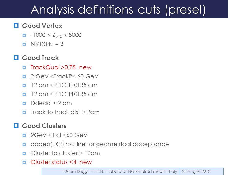 Relevant definitions 28 August 2013 Reduced IB relevant T ij Mauro Raggi - I.N.F.N.