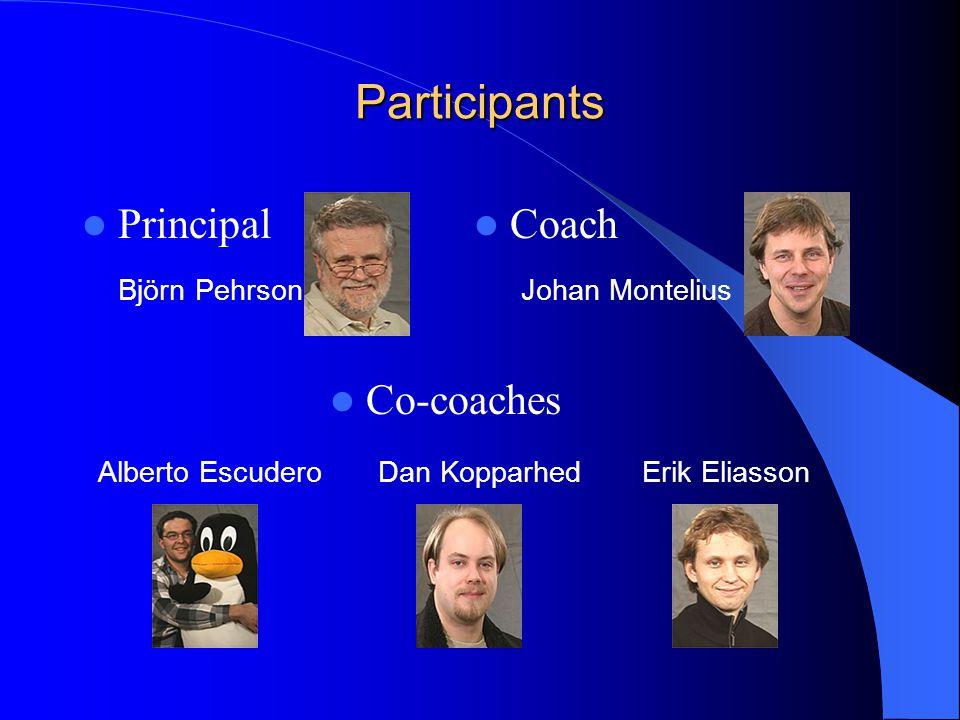 Participants Principal Björn Pehrson Coach Johan Montelius Co-coaches Alberto EscuderoDan KopparhedErik Eliasson