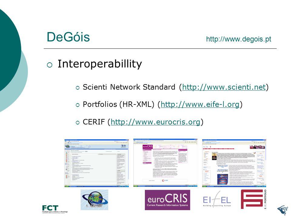 DeGóis http://www.degois.pt  Interoperabillity  Scienti Network Standard (http://www.scienti.net)http://www.scienti.net  Portfolios (HR-XML) (http://www.eife-l.org)http://www.eife-l.org  CERIF (http://www.eurocris.org)http://www.eurocris.org